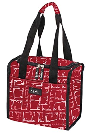 Signature Red Nicole Miller 11 Insulated Lunch Box Portable Cooler Bag