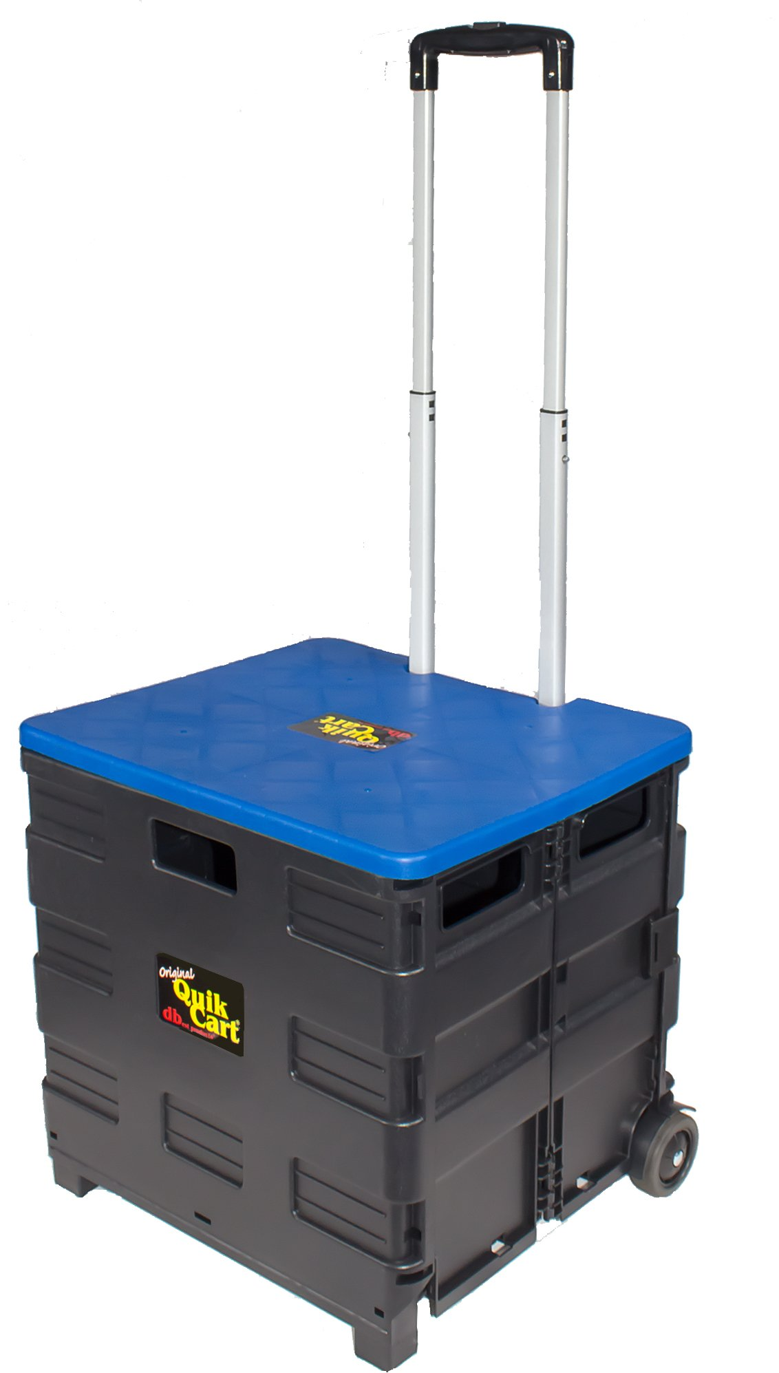 dbest products Quik Cart Two-Wheeled Collapsible Handcart Blue Lid Rolling Utility Cart seat Heavy Duty Lightweight