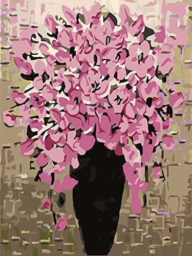 """[WOODEN FRAMED] ALB 12"""" x 16"""" Paint by Numbers Diy Painting Famous Painting Collection (Pink Vase)"""