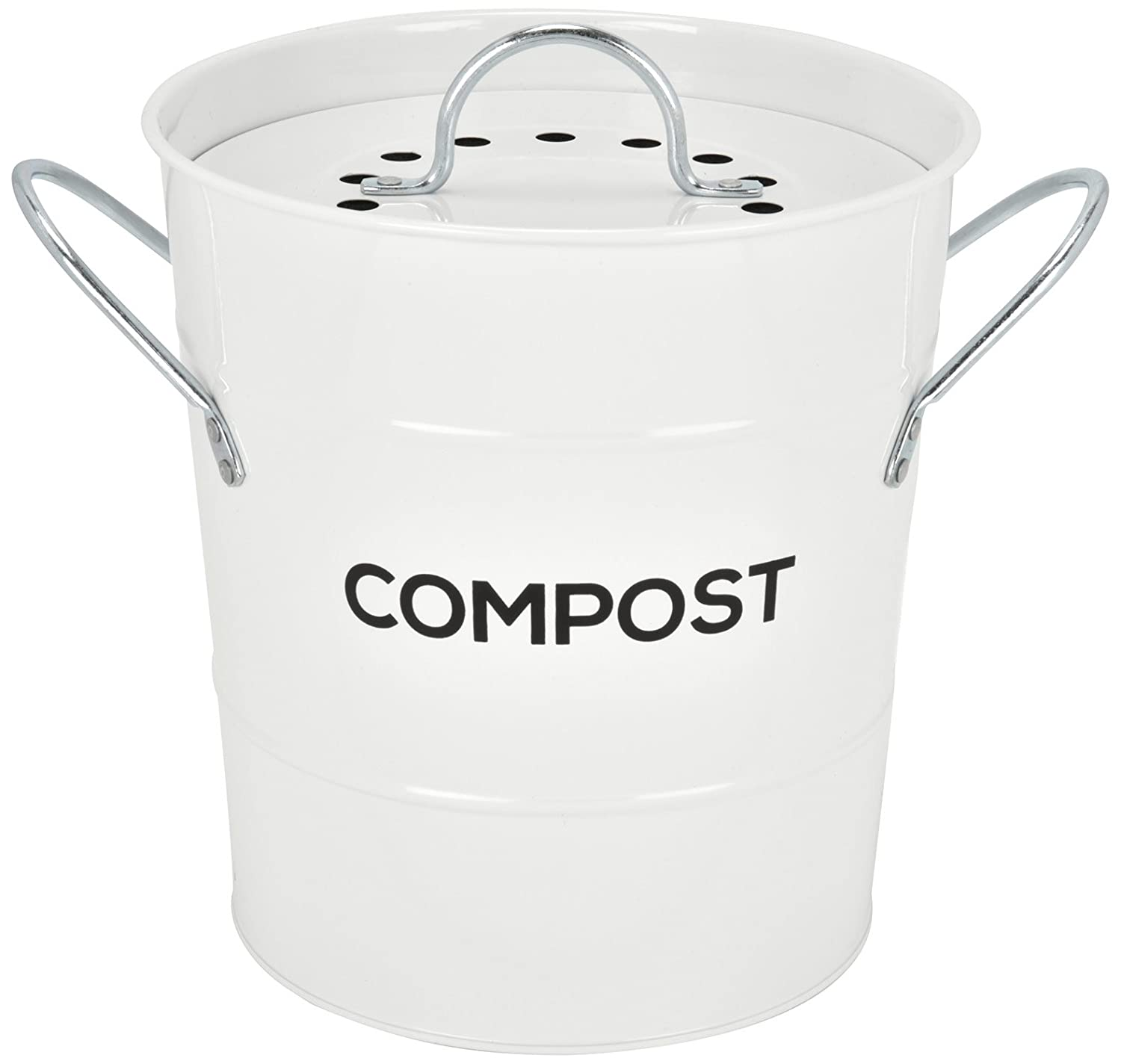 INDOOR KITCHEN COMPOST BIN by Spigo, Great for Food Scraps, Includes Charcoal Filter For Odor Absorbing, Removable Clean Plastic Bucket, Handles, Durable Stainless Retro Design, 1 Gallon, White