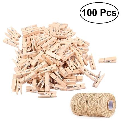 Amazon Com Luoem 100pcs Mini Natural Wooden Clothespins Photo Paper
