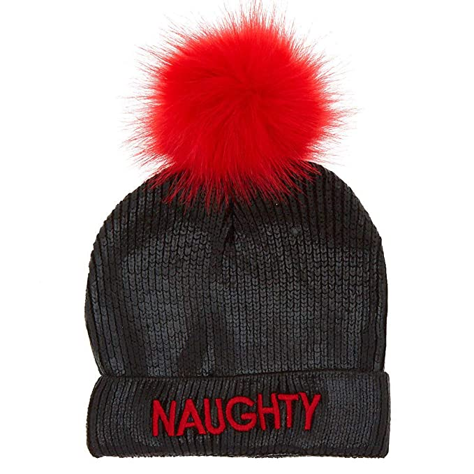 3b1a1eee0bc Claire s Girl s Naughty Or Nice Pom Beanie - Black  Claire s  Amazon.ca   Clothing   Accessories