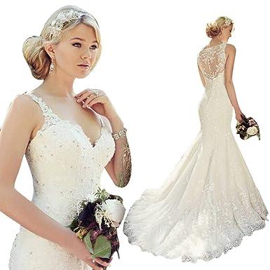 b9b1097b5674 JoyVany Women Lace Mermaid Wedding Dress 2019 Long Spaghetti Strap Formal  Gowns with Train JV730 at Amazon Women's Clothing store: