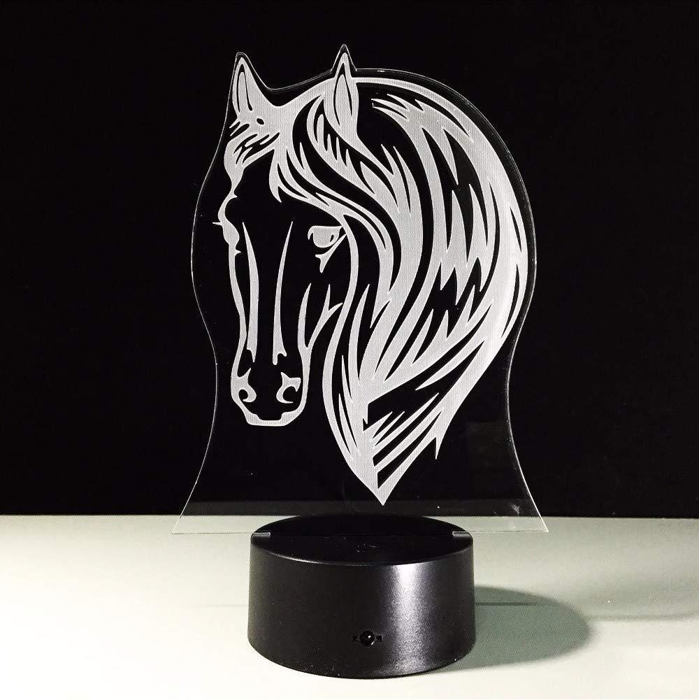 Fyyanm Beautiful Horse Lamp 2D Acrylic Panel 3D Illusion Illusion Illusion Night Light 7 Colorful Flash Toy Para Niños Regalos Home Office Decoration cdfe0e