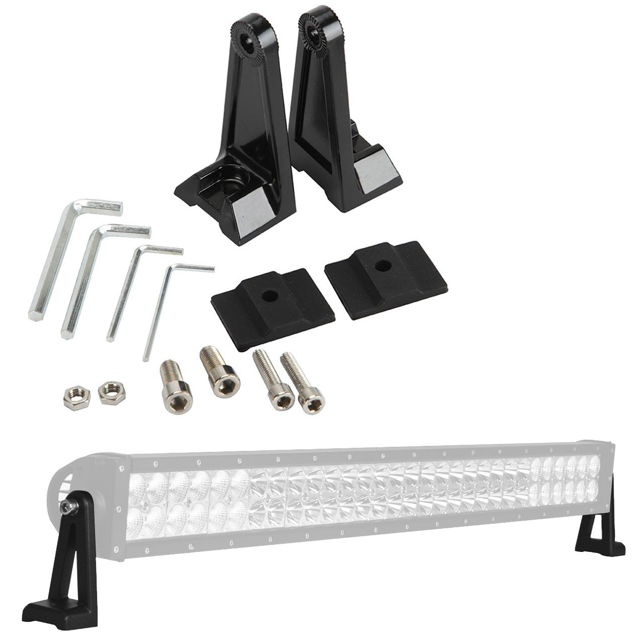 ALAVENTE Light Bar Side Brackets Universal Side Brackets Kit for Mounting Double Row LED Work Light Bar Mount Pair, Black