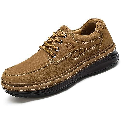 CAMEL CROWN Zapatos Casuales para Hombres Otoño Invierno Scrub Leather Zapatos Hechos a Mano Zapatos Caminar