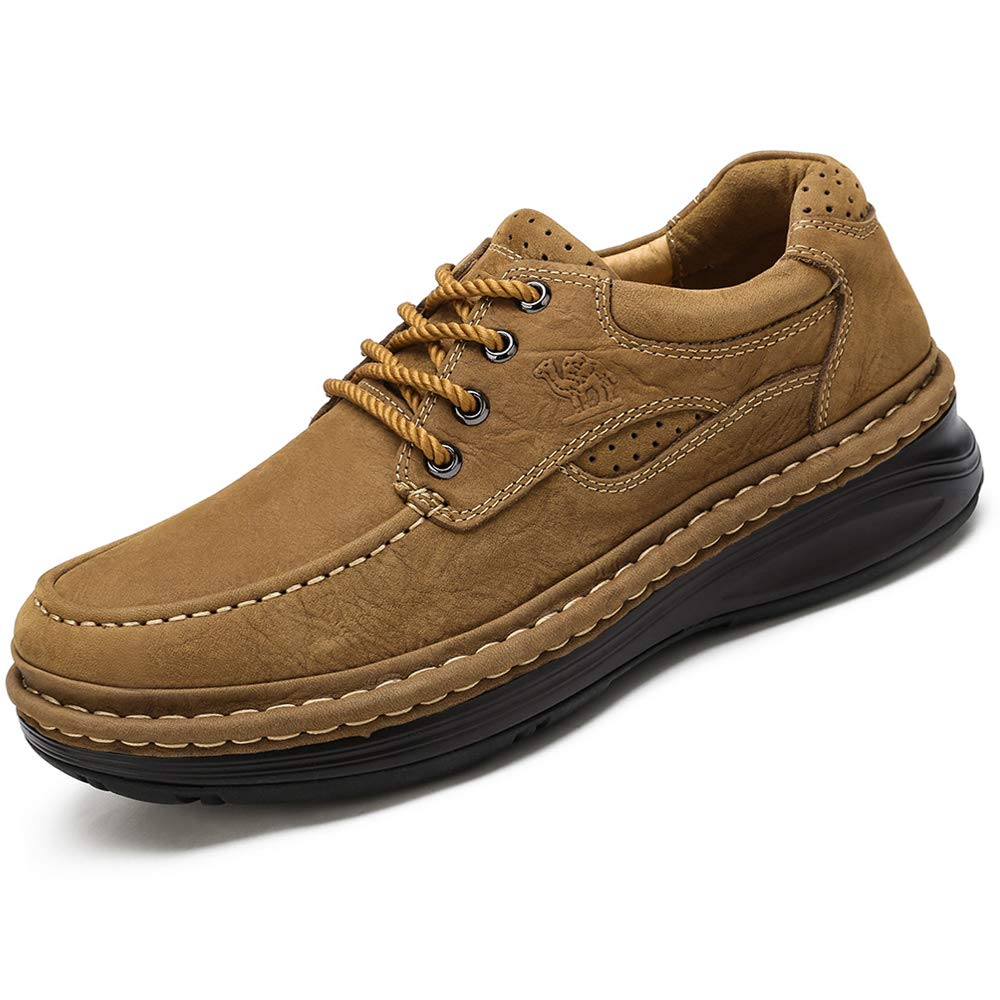 CAMEL CROWN Men's Genuine Leather Walking Shoes Handmade Comfortable Lace up Non-Slip Loafers Casual Shoes