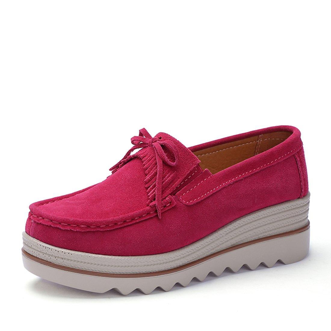 Z.SUO Mocassini Donna in Pelle Scamosciata Moda comode Loafers Scarpe da Guida Rose Red