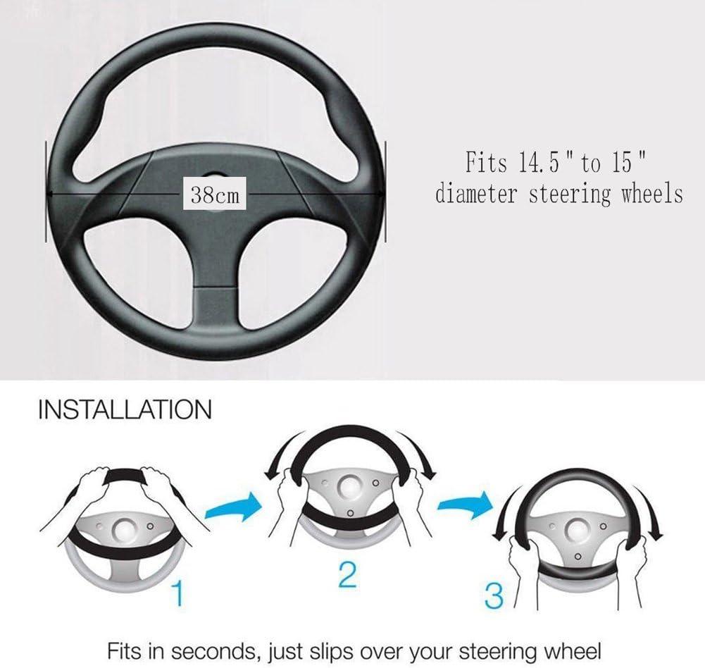HONCENMAX Plush Vehicle Steering Wheel Cover Quality Comfy Winter Soft Car Steering Wheel Protector Universal Diameter 38cm Leopard Print Coffee 15