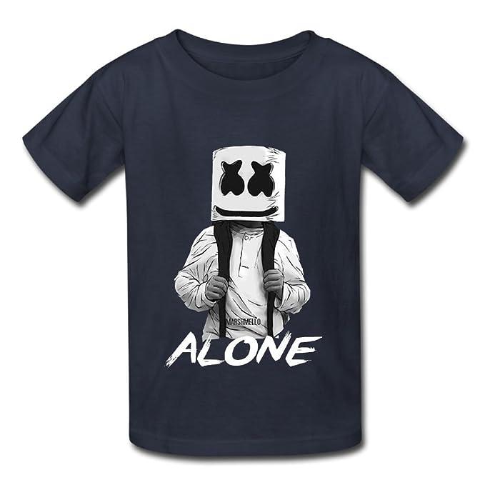 73cde30431c Amazon.com  Oyavdsznq Kid Marshmello Alone Casual Cool Tennis Black Shirts  Short Sleeve  Clothing
