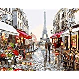 New arrival DIY Oil Painting by Numbers Kit Theme PBN Kit for Adults Girls Kids White Christmas Decor Decorations Gifts - Eiffel Tower Street View (With Frame)