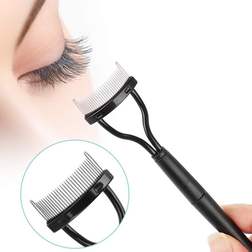 Extensión de pestañas Suministros de Maquillaje de Belleza Separador de Pestañas Plegable Pestañas de Metal Cepillo Peine Mascara Curl Tool Brrnoo