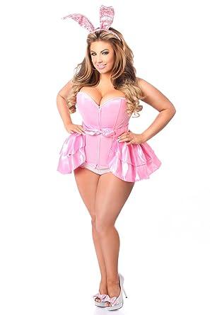 8b2e0bc9e5d1 Amazon.com  Daisy Corsets Women s Lavish 3 Pc Playful Pink Bunny Costume   Clothing