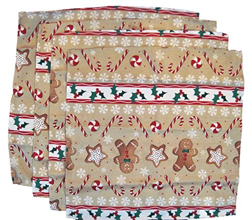The Big One Holiday Gingerbread Man Set of 4 Fabric Napkins