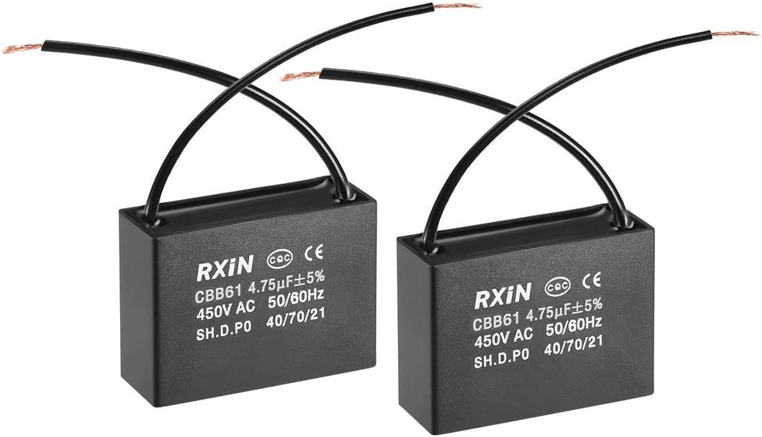 uxcell CBB61 Run Capacitor 450V AC 4.5uF 2 Cable Metallized Polypropylene Film Capacitors for Ceiling Fan
