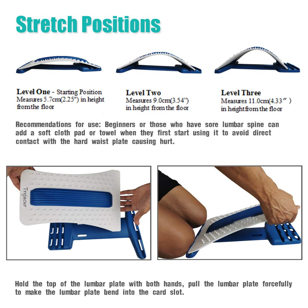 Back Stretcher, Lumbar Stretching Device with Massager for Upper and Lower Back Pain Relief, Lumbar Traction Supports (Blue,White): Industrial & Scientific