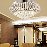 KJLARS Modern Crystal Ceiling Light Chandelier, Chrome Finish Round Pendant light for bedroom, living room, restaurant, dining room, indoor use, Flush Mount Hanging Light Fixture Φ 40cm