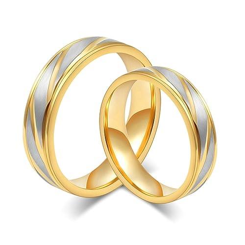 xiangling joyas acero inoxidable tono oro Juego de anillos de boda para él y ella (precio para 1pc SOLAMENTE): Xiangling: Amazon.es: Joyería