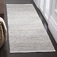 Safavieh Montauk Collection MTK601K Handmade Flatweave Light Grey and Ivory Cotton Runner (23 x 7)