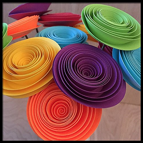 Rainbow Colored Paper Flower Bouquet of Spiral Flowers