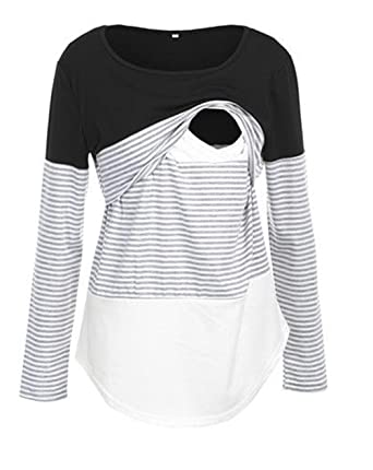 1f2816877b1 Pinleck Women Maternity Lace Striped Nursing Tops Long Sleeve Stitching Breastfeeding  Shirt Tops (S,