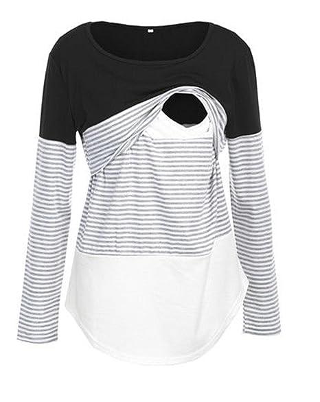 bb642bb202 Pinleck Women Maternity Lace Striped Nursing Tops Long Sleeve Stitching Breastfeeding  Shirt Tops (S