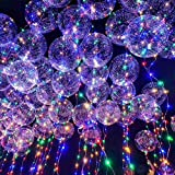 Led Colorful Light-Up Balloon, Leagway 18inch Luminous Transparent Round Light Balloon, Flashing Blinking String Light For Wedding, Birthday, Halloween, Christmas, Party Decoration Layout 12 Pack