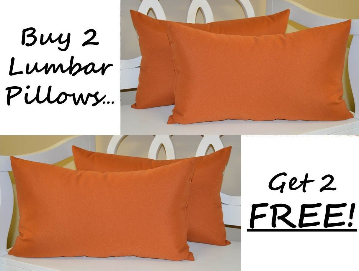 Set of 2 - Indoor / Outdoor Decorative Lumbar / Rectangle Pillows + 2 Free - Solid Pottery / Clay / Rust / Burnt Orange