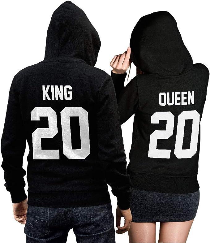 Hoodie Pullover King Queen Druck Partner Look Hochzeitsgeschenk Farben XS-5XL