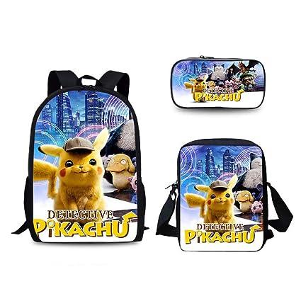 GNZY Mochilas Escolares Pokémon Detective Pikachu Impresión Mochilas ...