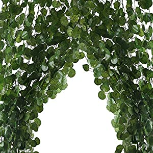 HO2NLE 12 Pack 84 Feet Artificial Fake Hanging Vines Plant Faux Silk Green Leaf Garlands Home Office Garden Outdoor Wall Greenery Cover Jungle Party Decoration 2