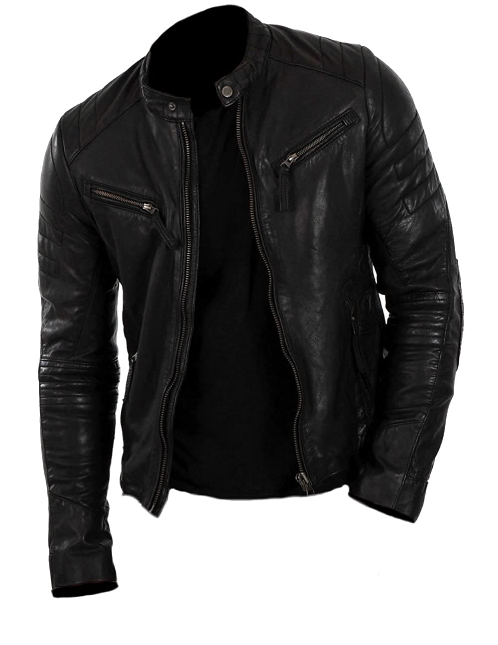 Classyak Mens Motorcycle Fashion Real Leather Jacket