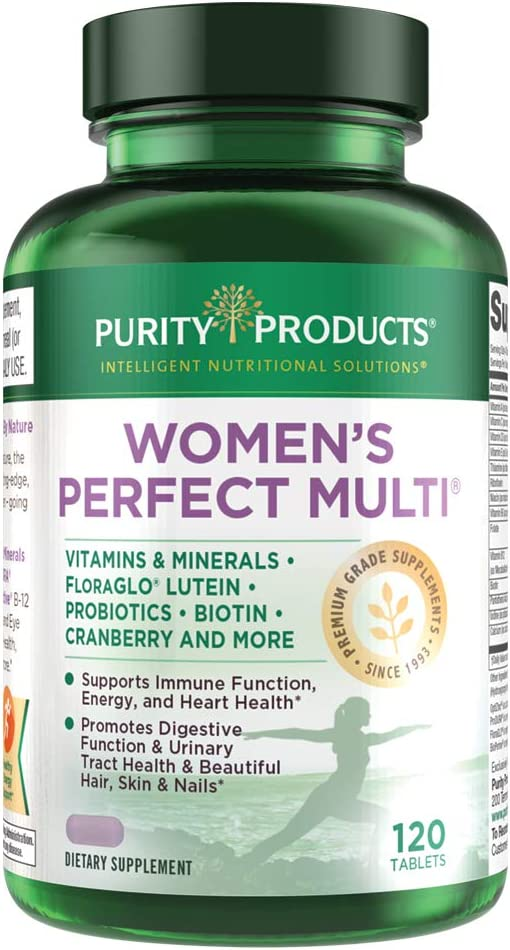 Women's Perfect Multi by Purity Products - Balanced Multivitamin - Supports Urinary Tract Health, Immune, Bone + Muscle, Hair, Skin, Nails, an Elite Probiotic for Digestive Health + More - 120 Tablets