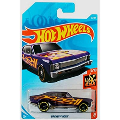 Hot Wheels 2020 50th Anniversary HW Flames '68 Chevy Nova 32/365, Purple: Toys & Games