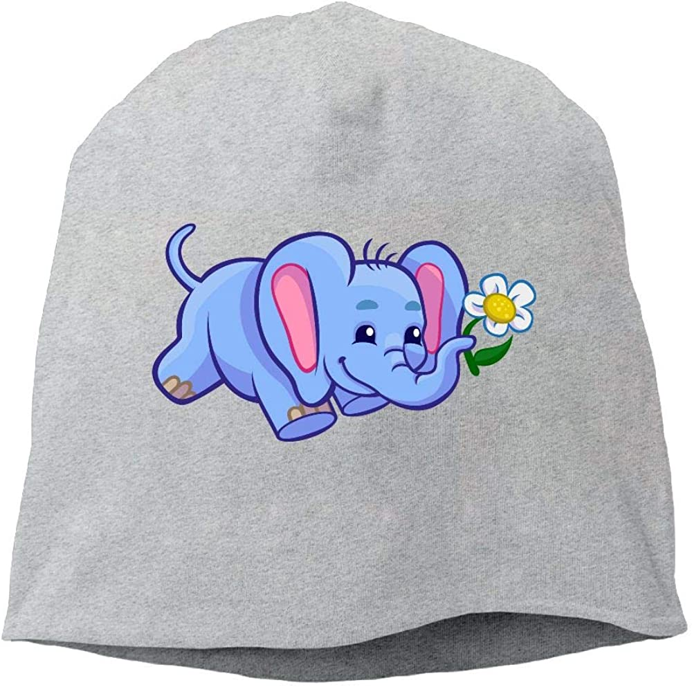 Janeither Headscarf Elephant with White Flower Hip-Hop Knitted Hat for Mens Womens Fashion Beanie Cap