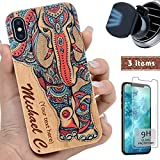 "iProductsUS Wood Phone Case Compatible with iPhone XS MAX,Magnetic Mount & Screen Protector-3D UV Print Color Elephant, Engrave Name,Compatible Wireless Charger,TPU & Metal Plate Built-in Covers(6.5"")"