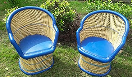 PatioStack Bamboo Handmade Outdoor Rattan & Wicker Sitting Chair Furniture Set of 2 for Garden/Terrace/Lawn/Balcony/Restaurant and Cafe [ 2 Chair, Size :18*18*34 ]