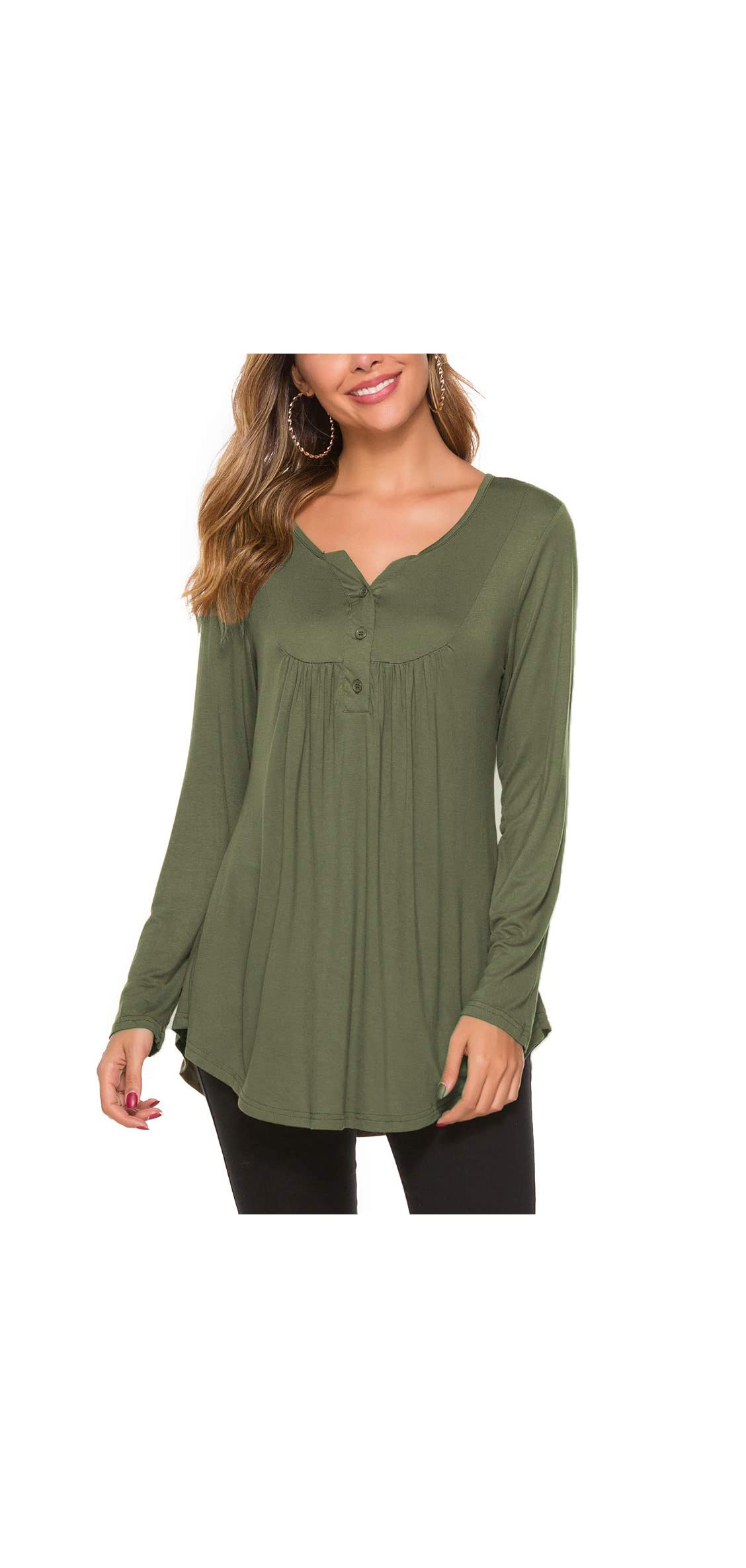 Women's Casual Long Sleeve Henley V-neck Loose Fit Pleated Tunic