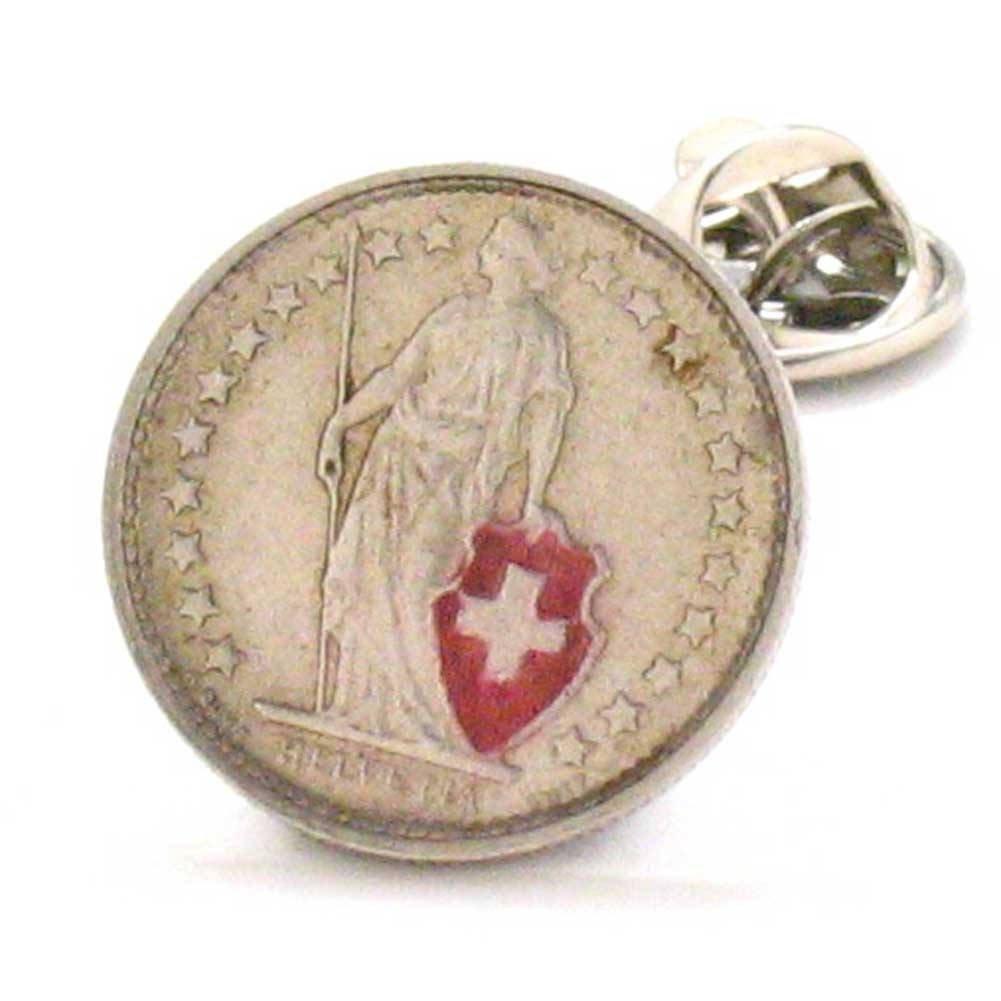 Switzerland Coin Tie Tack Lapel Pin Zürich Geneva Swiss Suisse Bijoux épinglette Schweiz Schmuck Alps Ski