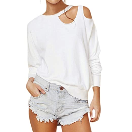 3f88d153a1e74 Minisoya Women Off Shoulder Sweatshirt O-Neck Long Sleeve Cut Out Loose  Tops Casual Shirt