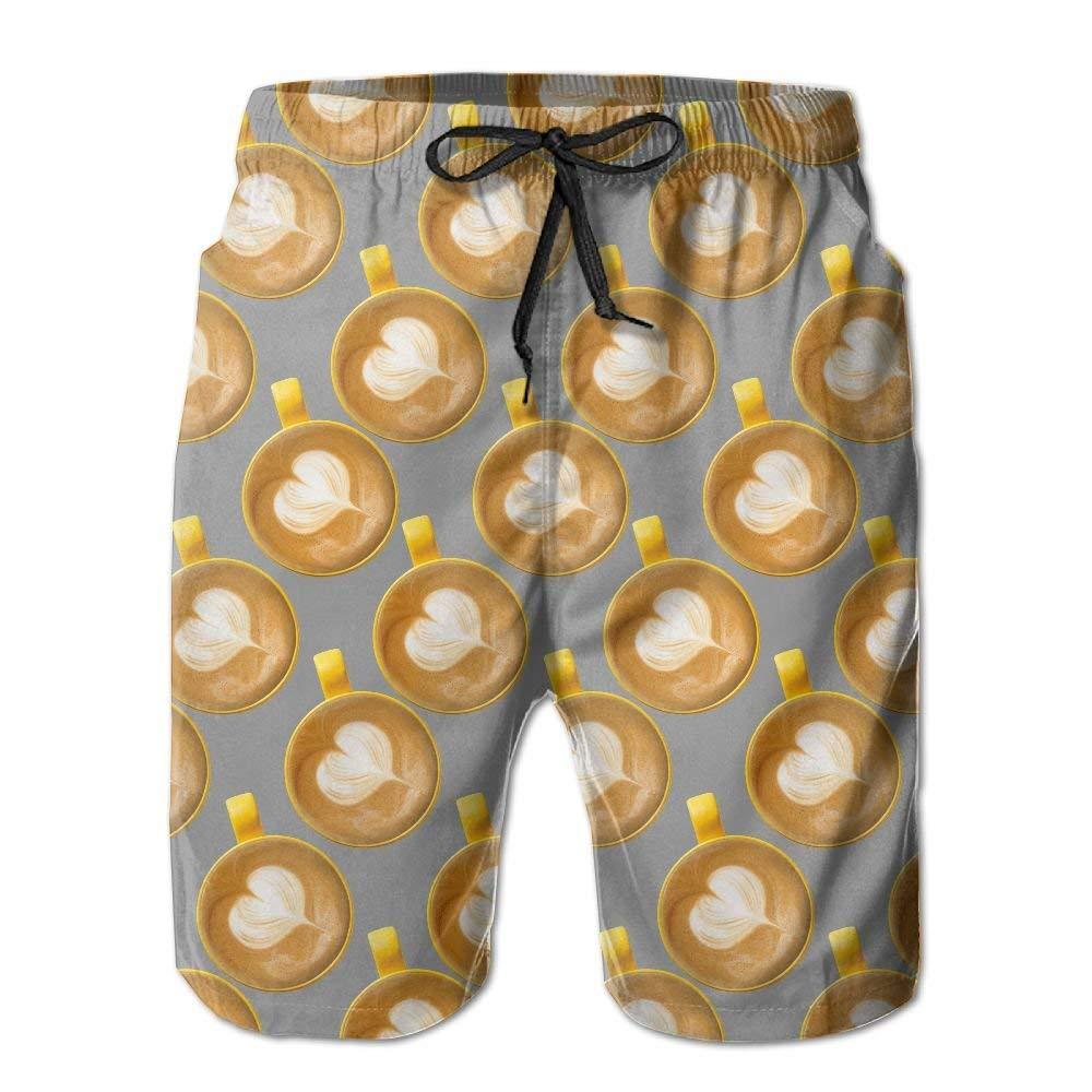 Mens Latte Coffee Summer Holiday Swim Trunks Beach Shorts Board Shorts