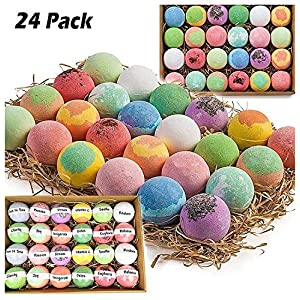 Bulk Bath Bombs Gift Set – 24 Nurture Me Organic Bath Bomb Kit – Lush Bath Bombs Bath Gift Set – Best Valentines Gifts For Women, Mom, Girls, Teens, Her & Him!