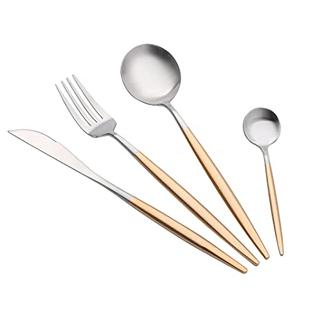 Cuchara, disfraz de Portugal estilo acero inoxidable tenedor cuchara cubiertos vajilla 4 piezas juegos E