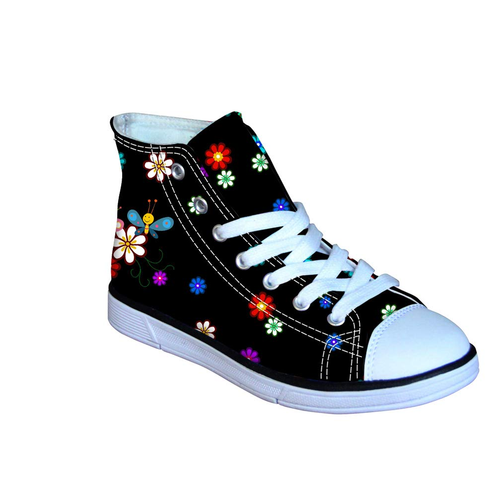 Little Kids Shoes Sneakers Lace Up High Top Breathable Canvas Fashion Floral Printed