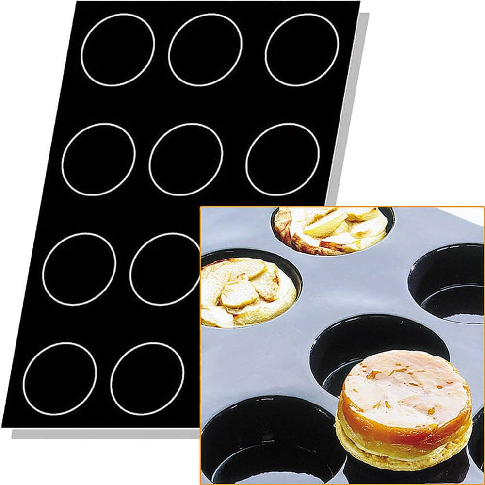 Matfer Bourgeat Silicone Flexipan 8 Oz. Quiches / Tart Mold, 12 Cups Black 336049