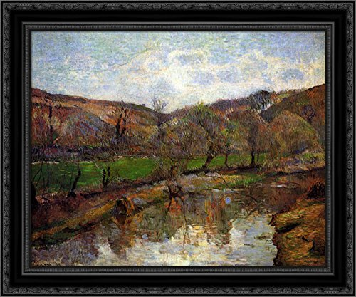Upstream Framed - Upstream of Pont-Aven 24x20 Black Ornate Wood Framed Canvas Art by Paul Gauguin