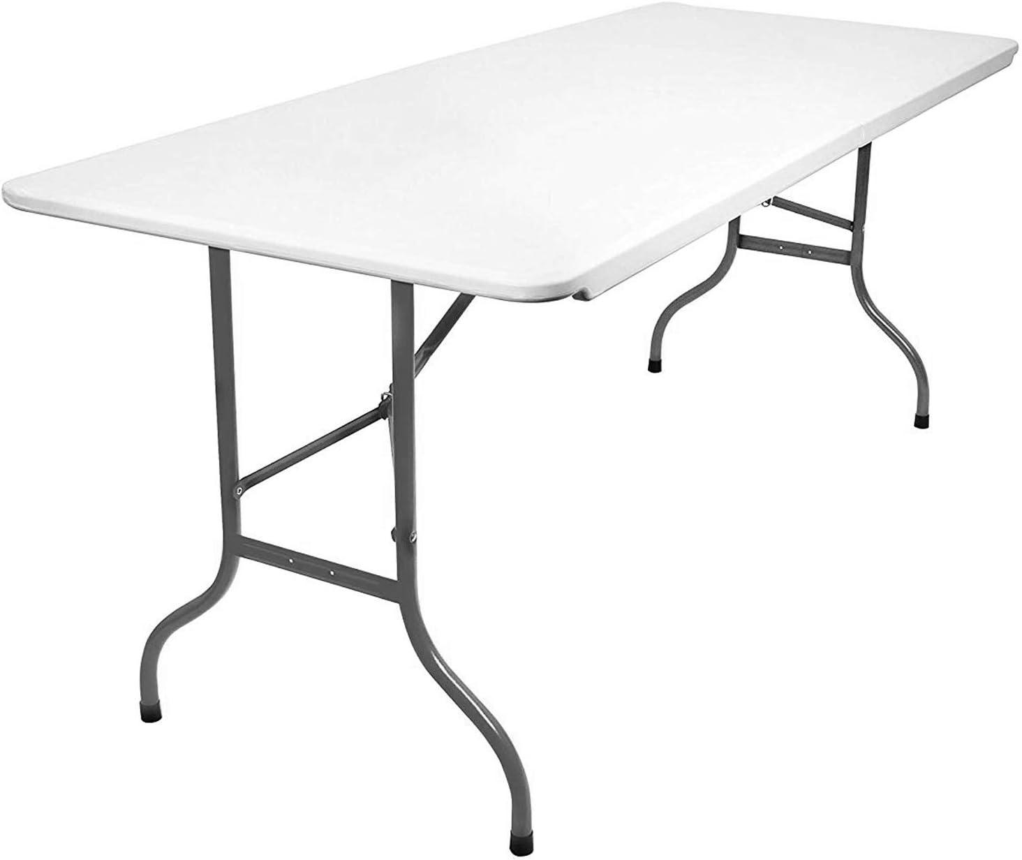 Weißer klappbarer Tisch mit Husse Gartentisch Klapptisch Campingtisch 180 x 75cm