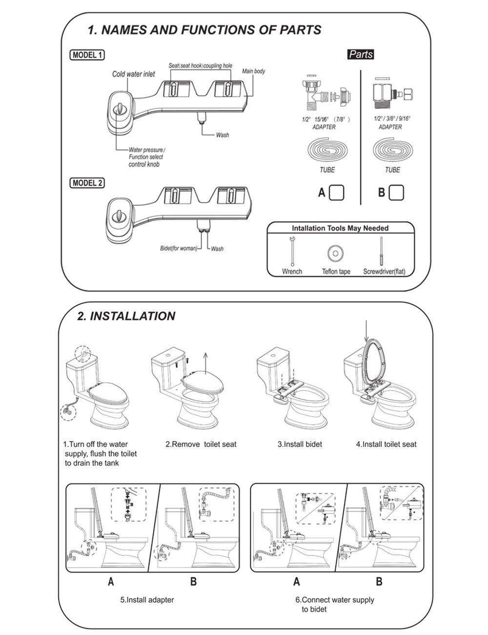 Buse Double Autonettoyante Bidet eau Chaude et Froide Becs de Fixation de Toilette pour Bidet M/écanique Non /Électrique Laver les Bidets de Toilette Autonettoyants avec Bouton Dargent Zhhlaixing