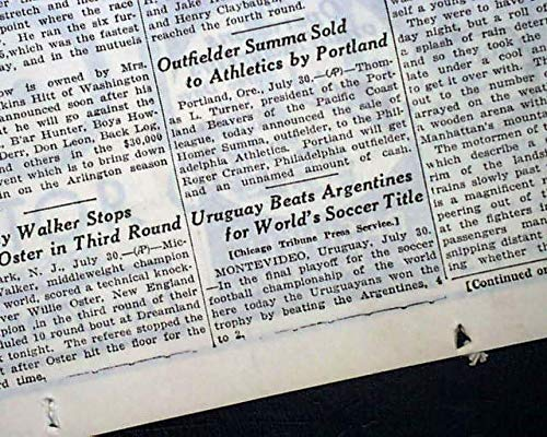 Very 1st WORLD CUP SOCCER Title Game URUGUAY vs. Argentina 1930 Old NY Newspaper CHICAGO DAILY TRIBUNE, July 31, - Cup 1930 Uruguay World