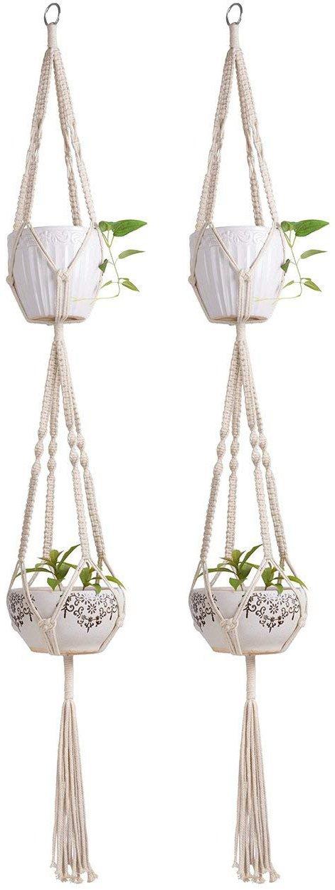 Mkono Macrame Double Plant Hanger Indoor Outdoor 2 Tier Hanging Planter Cotton Rope 4 Legs 67 Inch Set of 2